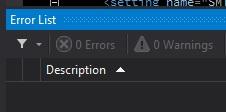 Screen shot of Visual Studio 2012 Error List