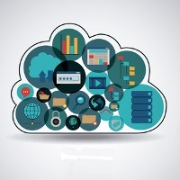 Cartoon illustration of a cloud with many devices within