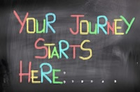 Your Journey Starts Here on a blackboard