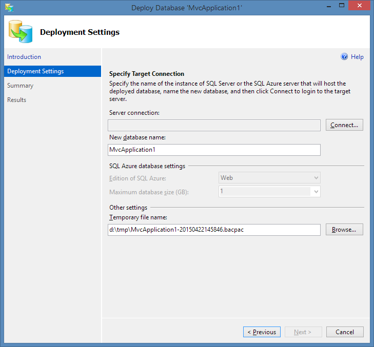 Deploy to SQL Azure Settings