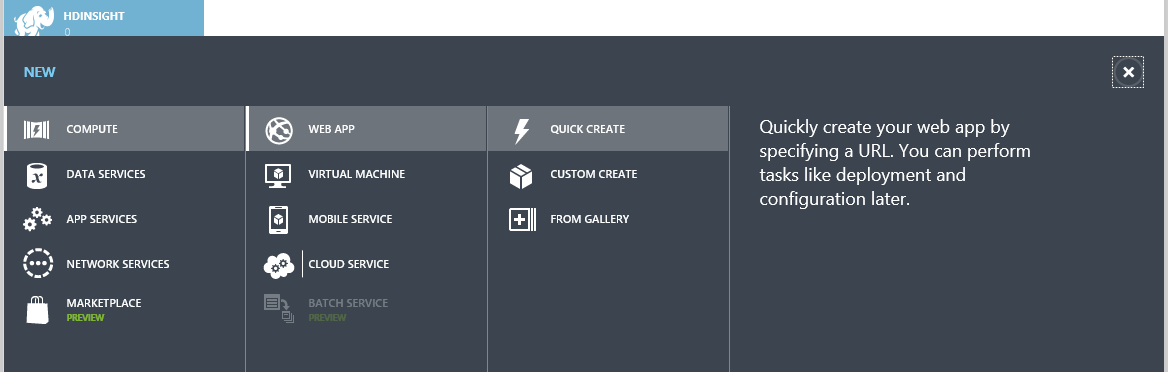 Azure Management Portal Create Web Application