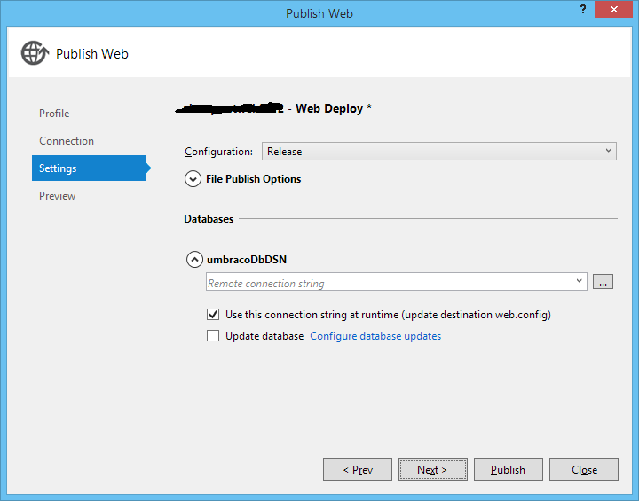 Specifying connection string in the Visual Studio 2012 publish wizard
