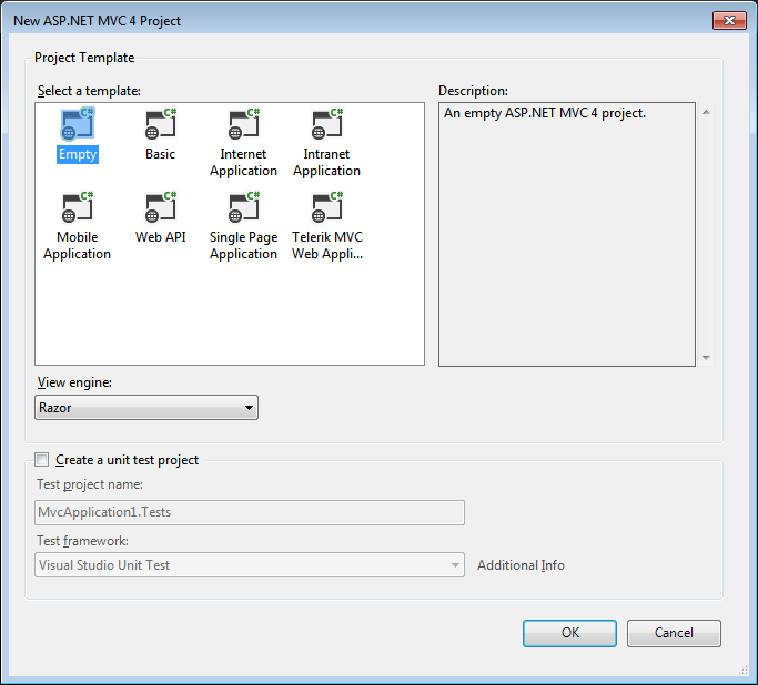 VS2012 - New ASP.NET MVC 4 Project options