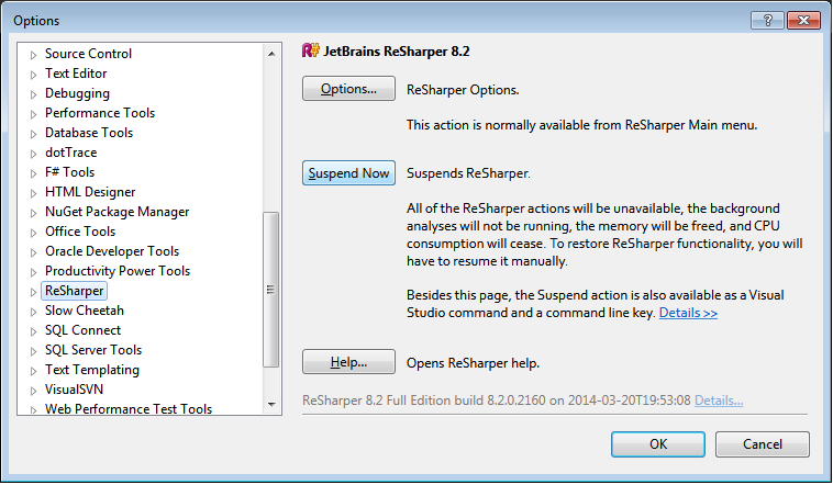 Resharper Options screen in Visual Studio