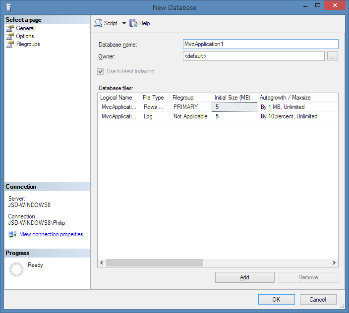 Creating a new database in SQL/Server 2012