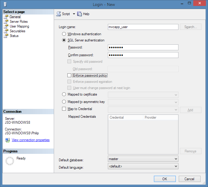 Creating a user in SQL/Server 2012