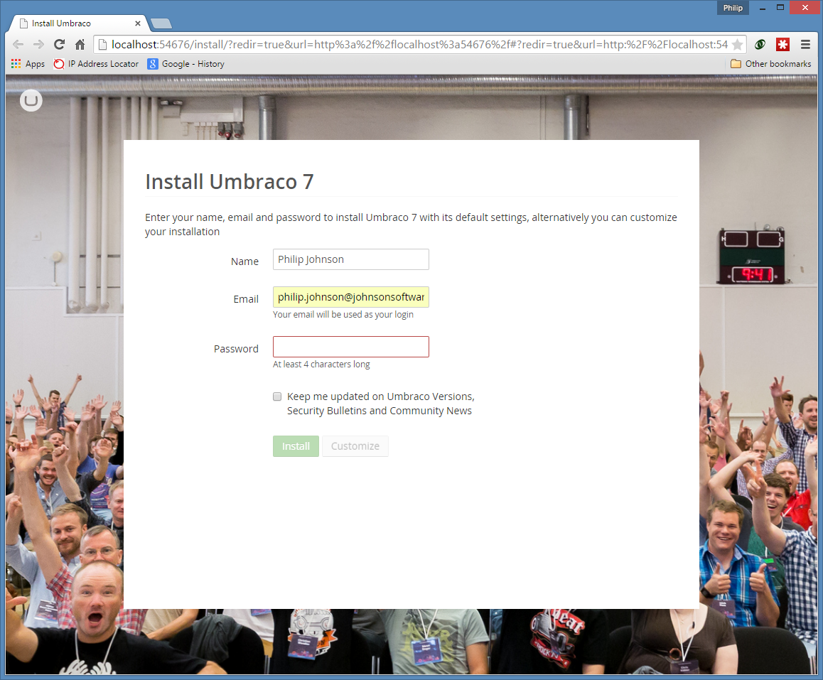 Umbraco Installation Configuration Page 1