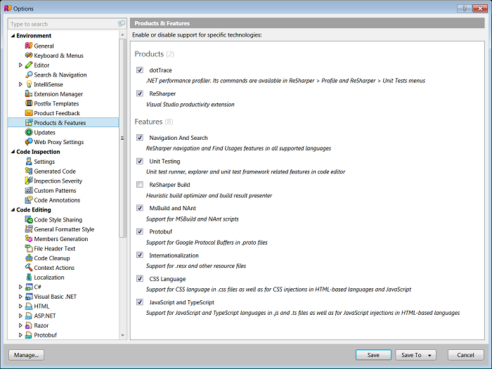 ReSharper options dialog showing disabled ReSharper Build
