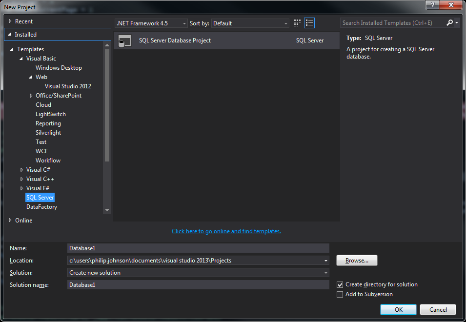 Shows screen print of new project dialog in Visual Studio