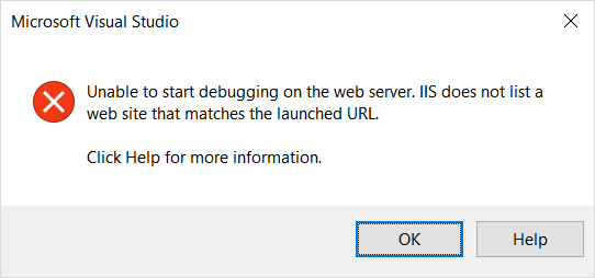 Unable to start debugging on the web server. IIS does not list a web site that matches the launched URL.